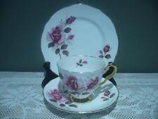 ROYAL STAFFORD BONE CHINA TRIO - PINK ROSES - VINTAGE - ENGLAND - HIGH TEA - GC
