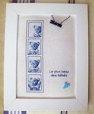"""Tableau de naissance """"Le plus beau des bébés"""", brodé au point de croix (bleu)"""