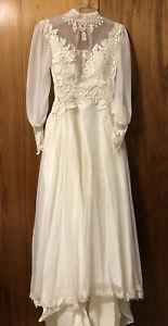 1980s Vintage Wedding Dress Petite Empire waist Bishop style sleeves