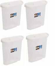 4 x Wham 2.5 Litre Cereal Dispenser Tub - Clear With White Lid