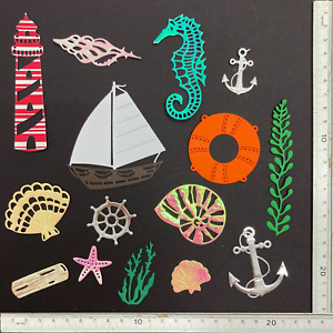 Large Seaside Nautical Ocean Lighthouse Boat Die Cuts - Assorted Sets of 15 pcs
