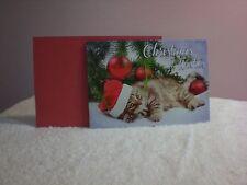 For Arts Sake - Christmas Card - Kitten with Santa hat under tree