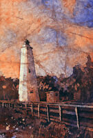 Watercolor painting of Ocracoke Island Lighthouse (print)