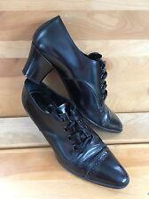 Ralph Lauren Black Leather Oxford Cap Toe Heel Womens Shoe Size 37 EU 7 US Italy
