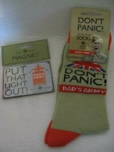 Dad's Army - 'Don't Panic' Socks & 'Put That Light Out' Magnet. New