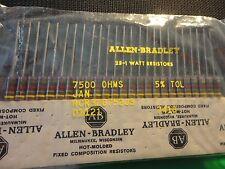 25PCS ALLEN BRADLEY 7.5K-1W-5% RCR32G752JS CARBON COMP. RESISTOR