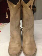 Stivali - scarpe da donna - colore beige - N° 35 - tacco 6 cm - alti 29 cm USATI