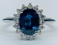 GIA Certified 2.8 Ct Blue IF Ceylon Sapphire & D VS1 Diamond Ring 14K White Gold