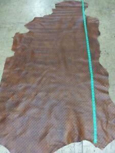 Italian Cowhide leather skin Cow Hide  EmbossedTurtle Brown 16 Sq.Ft 2 oz