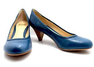 Noe Womens Medim Heel Pumps Court Shoes Leather Blue UK 6 / EU 39