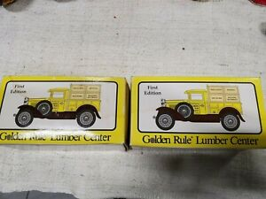 First Edition Golden Rule Lumber Center 1930 Model A Pickup Crate Coin Bank