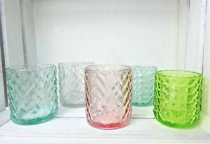 Tea Light Glass Lantern Glass Tealight Holder Green Pink Clear Modern