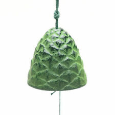 Japanese Furin Wind Chime Nambu Cast Iron Iwachu Green Pine Cone, Made in Japan