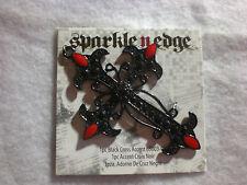Black Cross  Vampire Red Tip Necklace Pendant Enamel Paint Metal
