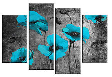 LARGE TURQUOISE BLACK POPPIES FLORAL CANVAS WALL ART PICTURE 4 PANEL 100CM wide