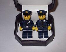 POLICEMAN POLICE OFFICER  LEGO CUFFLINKS IN  BEAUTIFUL JEWELRY BOX-