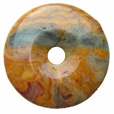 Crazy Lace Agate Donut Pendant natural gemstone bead jewellery making Size 40 mm