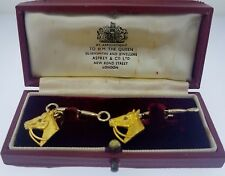 ASPREY Cuff Links~Horses & Stirrups~9K Solid Gold~Vintage~Estate~English~w/Box