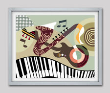 Music Instrument Guitar Saxophone Sheet Notes Home Decor Poster Painting