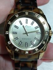 ANNE KLEIN WOMENS GOLDTONE LINK WATCH-FAUX DIAMOND ACCENT-FAUX TORTOISE SHELL-WR