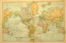 1899 MAP THE WORLD NORTH AMERICA AFRICA EUROPE BRITISH ISLE AUSTRALIA ALASKA
