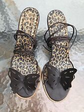 Ladies Brown Lace up leg Butterfly Front Stappy Wedge Sandals Size 7.