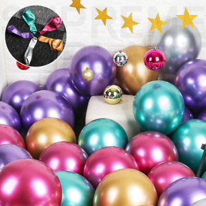 "50 Mixed Metallic Balloons Chrome Shiny Latex 12"" Thicken For Wedding Party Baby"