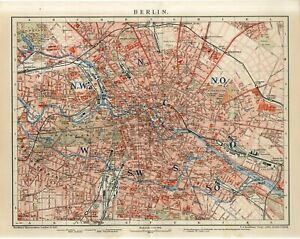 1901 GERMANY BERLIN CITY PLAN Antique Map dated