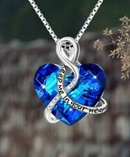 "Silver ""Keep Me In Your Heart"" Pendant Necklace Made with Swarovski Crystals"