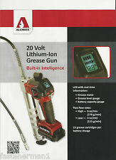 (1)New,ALEMITE 596-D European 20 Volt Lithium-Ion 2-Speed Grease Gun 2 Batteries