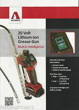 (1) New,ALEMITE 596-B 20 Volt Lithium-Ion 2-Speed Grease Gun - 2 Batteries/case