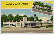 Tower Court Motel US 67 60 Poplar Bluff Missouri linen postcard