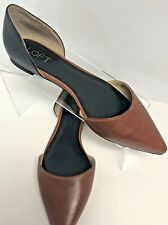 Ann Taylor Loft Flats Pointed Closed Toe Heel Two Tone Black Brown Size 8M