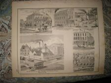 ANTIQUE 1876 INDIANAPOLIS NEW ALBANY BEER BREWERY GREEN CASTLE INDIANA PRINT FIN