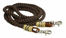 Round Nylon Roping Barrel Racing Reins 8' Rawhide Leather Western Horse Brown