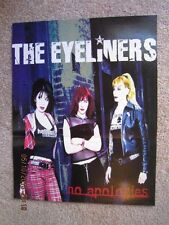 """THE EYELINERS 11"""" x 14""""  NO APOLOGIES Two sided Poster   Unused!"""