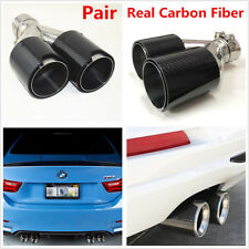 Universal Right+Left Side Car Real Carbon Fiber Exhaust Dual Pipes Twin End Tips