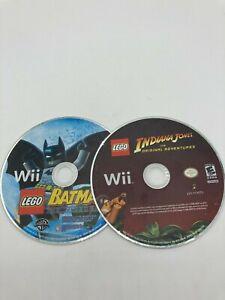 Nintendo Wii Tested DISC ONLY LEGO Indiana Jones + LEGO Batman LOT
