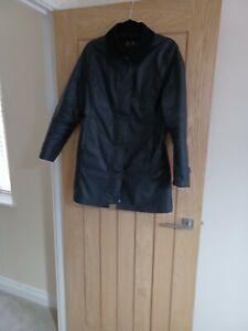 Barbour Long Black Ladies Coat 10 Waxed
