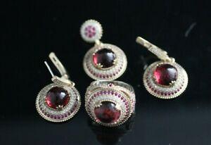 Turkish Handmade Sterling Silver 925 Ruby Set Ring Earring Pendant 6 7 8 9
