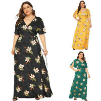 Plus Size Womens Summer Maxi Wrap Dress Ladies Beach Casual V-Neck Boho Dresses
