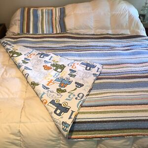Boys twin vintage cotton quit blanket cars trucks numbers sham blue green brown