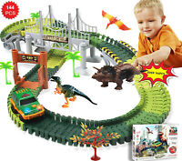 Flexible Track Race Car Train Toy Playset Dinosaur Building Game for Kids - FR