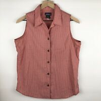 Patagonia Women's Sleeveless Button Down Top Blouse Size M Red/White -Small Flaw