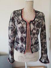 Maison Scotch Women Tweed Multicolour Diamond Print Blazer Jacket Size 1 s or 8