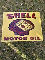 """VINTAGE SHELL MOTOR OIL 19"""" PORCELAIN METAL GASOLINE SIGN DOUBLE SIDED FLANGED!!"""
