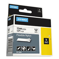 "DYMO Rhino Flexible Nylon Industrial Label Tape 1/2"" x 11 1/2 ft White/Black"