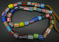 (fV5010) Tibet: Vintage tribal Necklace. Chevron Glass Trade Beads, from Nepal