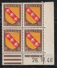 FRANCE COIN DATE BLOC DE 4 TIMBRE NEUF N° 757  ARMOIRIES LORRAINE