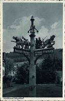 Lenzkirch im Schwarzwald s/w AK ~1920/30 Holzschnitzerei Wegweiser ungelaufen